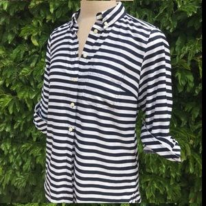 Gap White/Navy Stripe Tailored Button Down Shirt